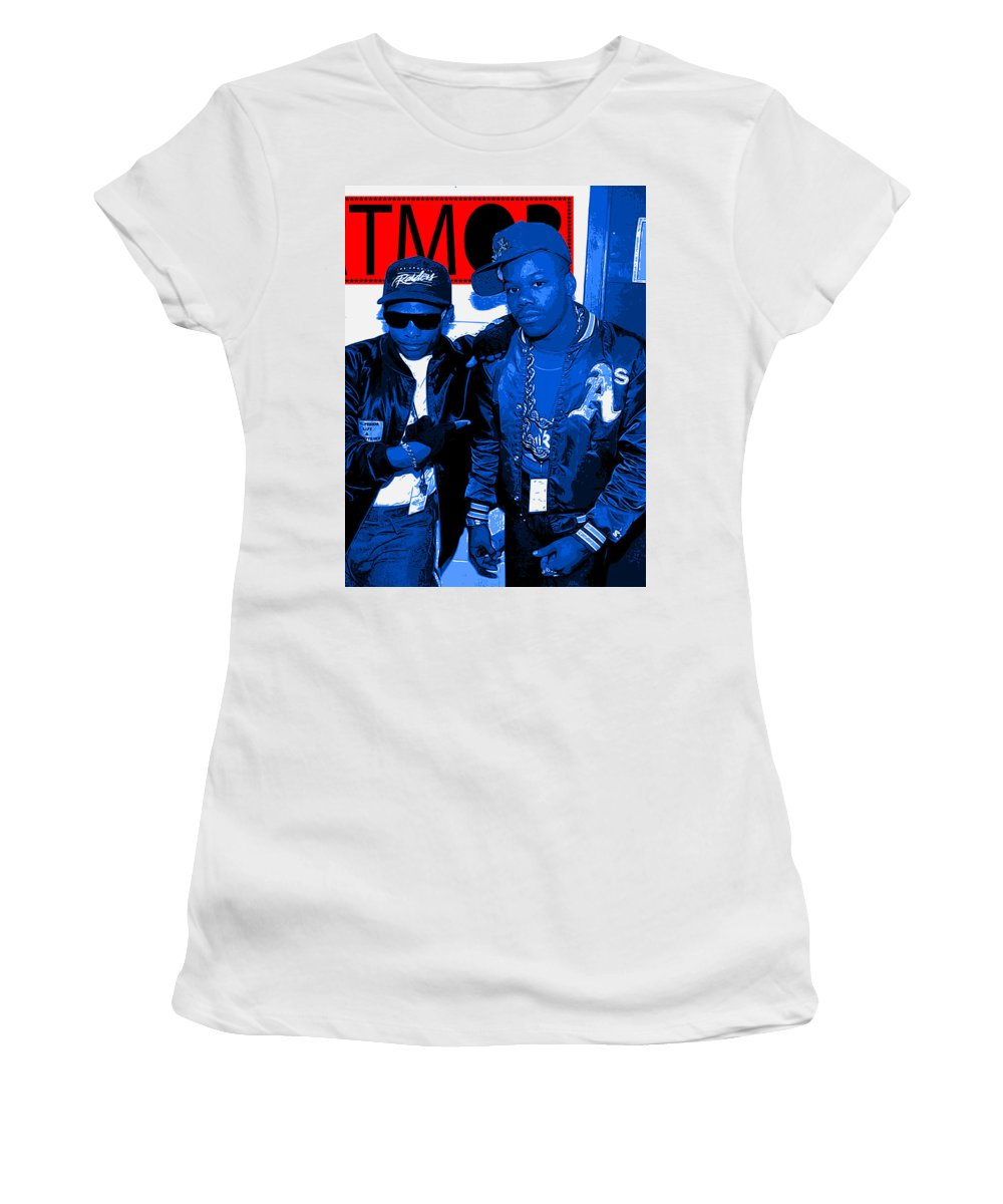 Hip Hop Women's T-Shirt (Athletic Fit) featuring the digital art Easy E Too Short by Jason Aldridge