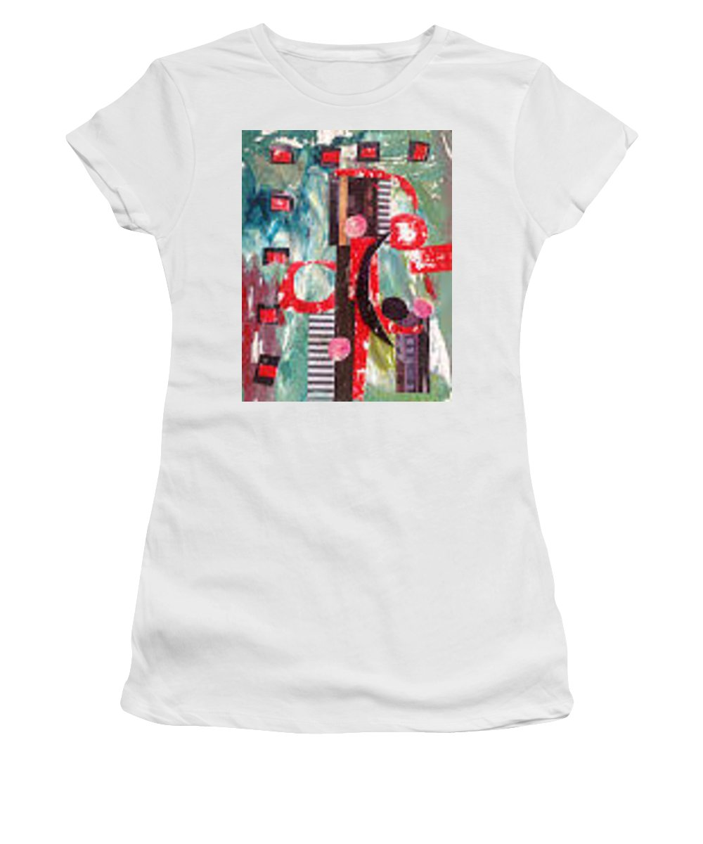 Women's T-Shirt (Athletic Fit) featuring the painting Ebony And Ivory by Morris Eaddy