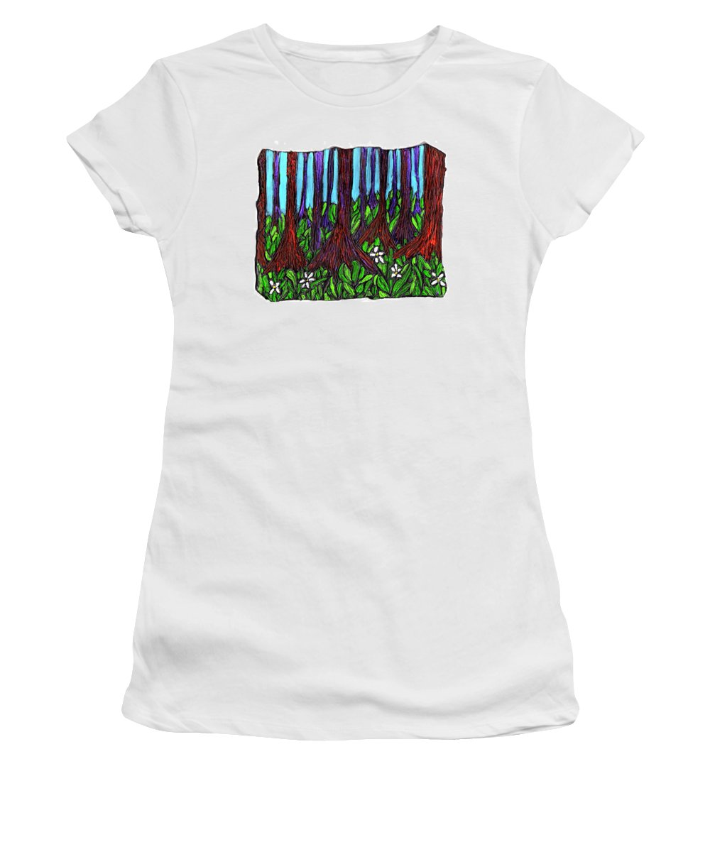 Trees Women's T-Shirt (Athletic Fit) featuring the painting Edge Of The Swamp by Wayne Potrafka