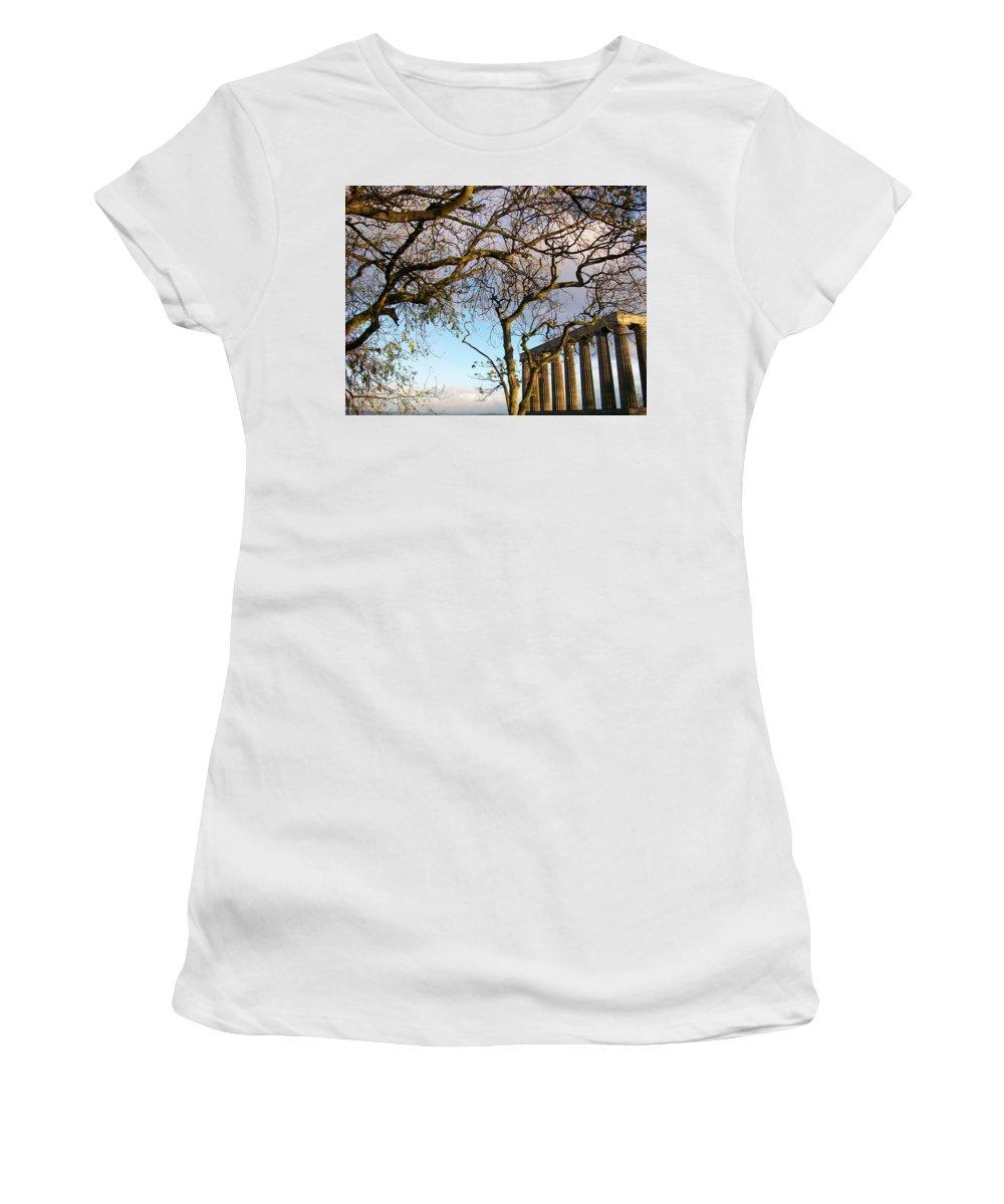 Scotland Women's T-Shirt (Athletic Fit) featuring the photograph Edinburgh - Caption Hill Trees by Munir Alawi