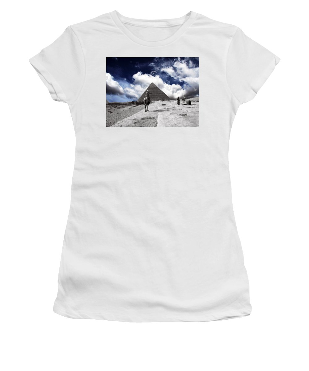 Egypt Women's T-Shirt (Athletic Fit) featuring the photograph Egypt - Clouds Over Pyramid by Munir Alawi