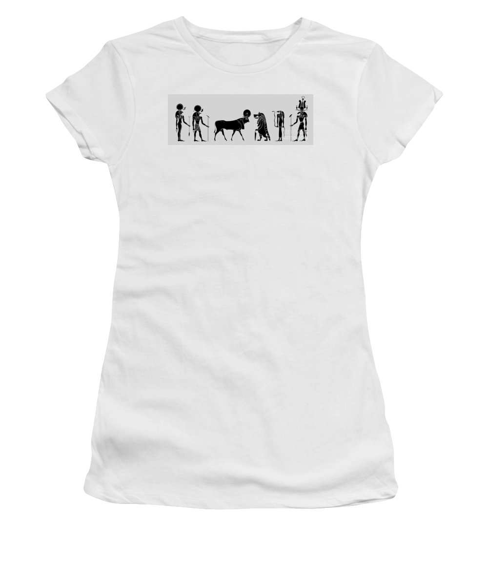 Egypt Women's T-Shirt (Athletic Fit) featuring the digital art Egyptian Gods by Michal Boubin