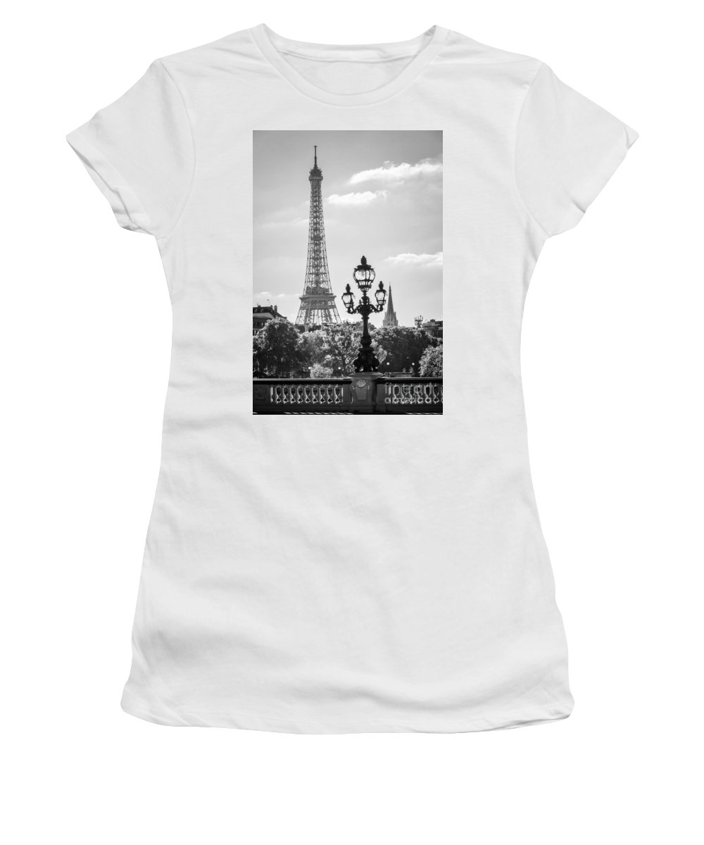 Paris Women's T-Shirt featuring the photograph Eiffel Tower And Bridge Alexandre IIi by Delphimages Photo Creations