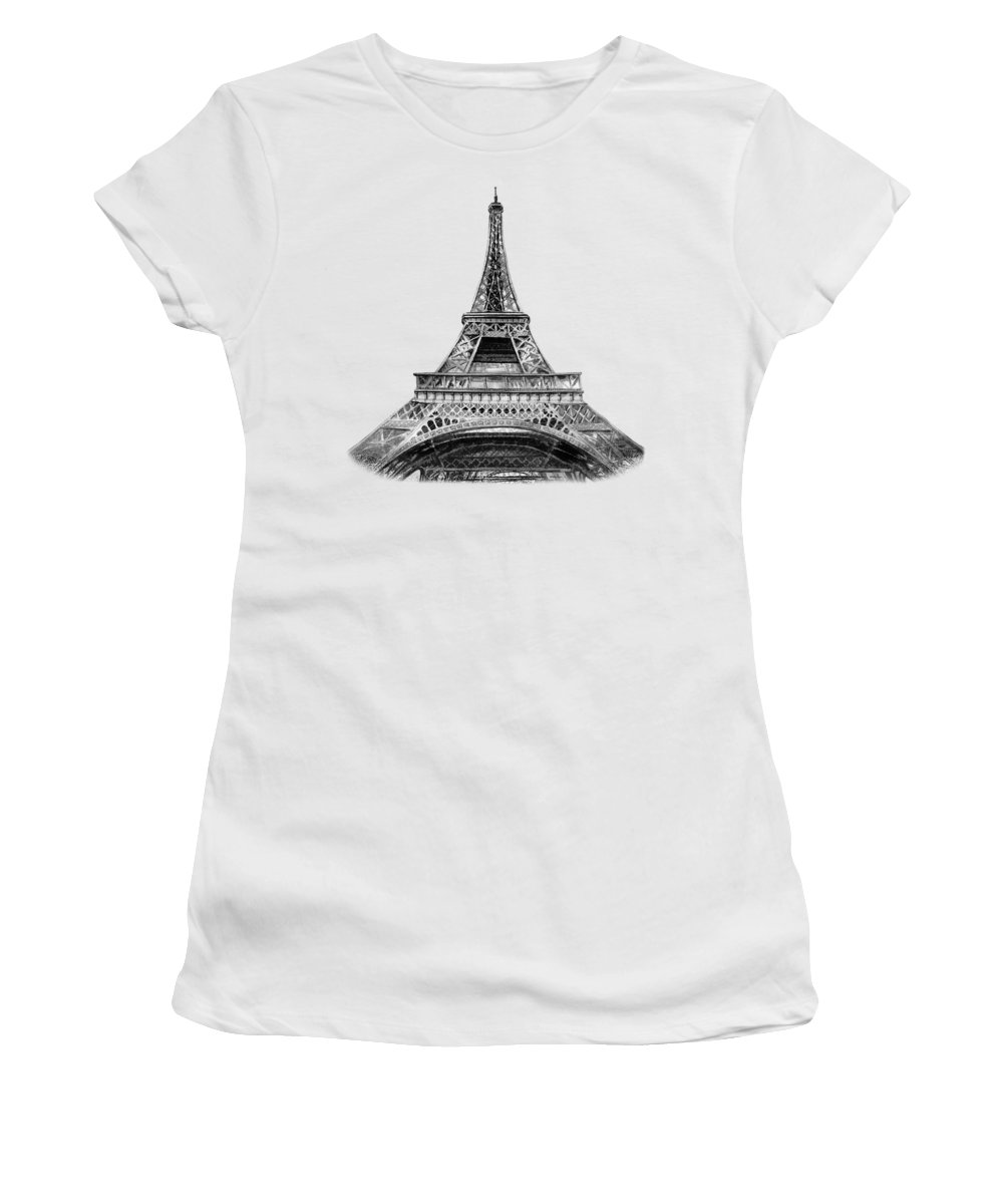 Vintage Women's T-Shirt featuring the painting Eiffel Tower Design by Irina Sztukowski