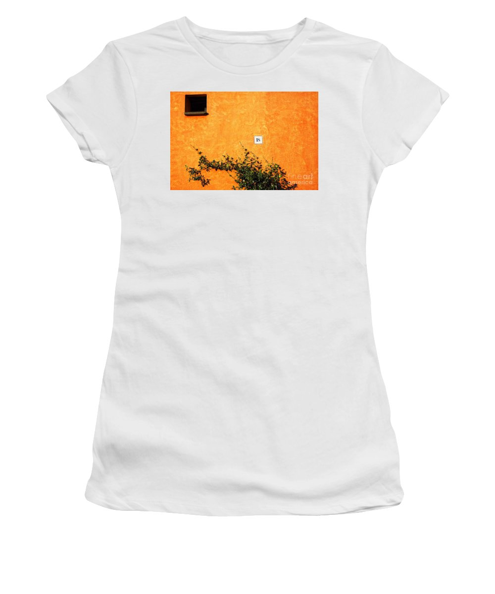 Numbers Women's T-Shirt (Athletic Fit) featuring the photograph Eighteen On Orange Wall by Silvia Ganora