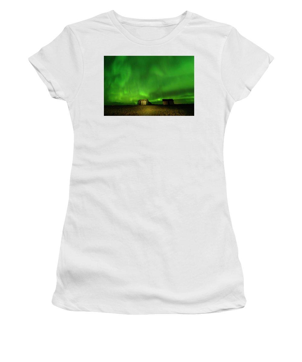 Granaries Women's T-Shirt featuring the photograph Electric Green Skies by Dan Jurak