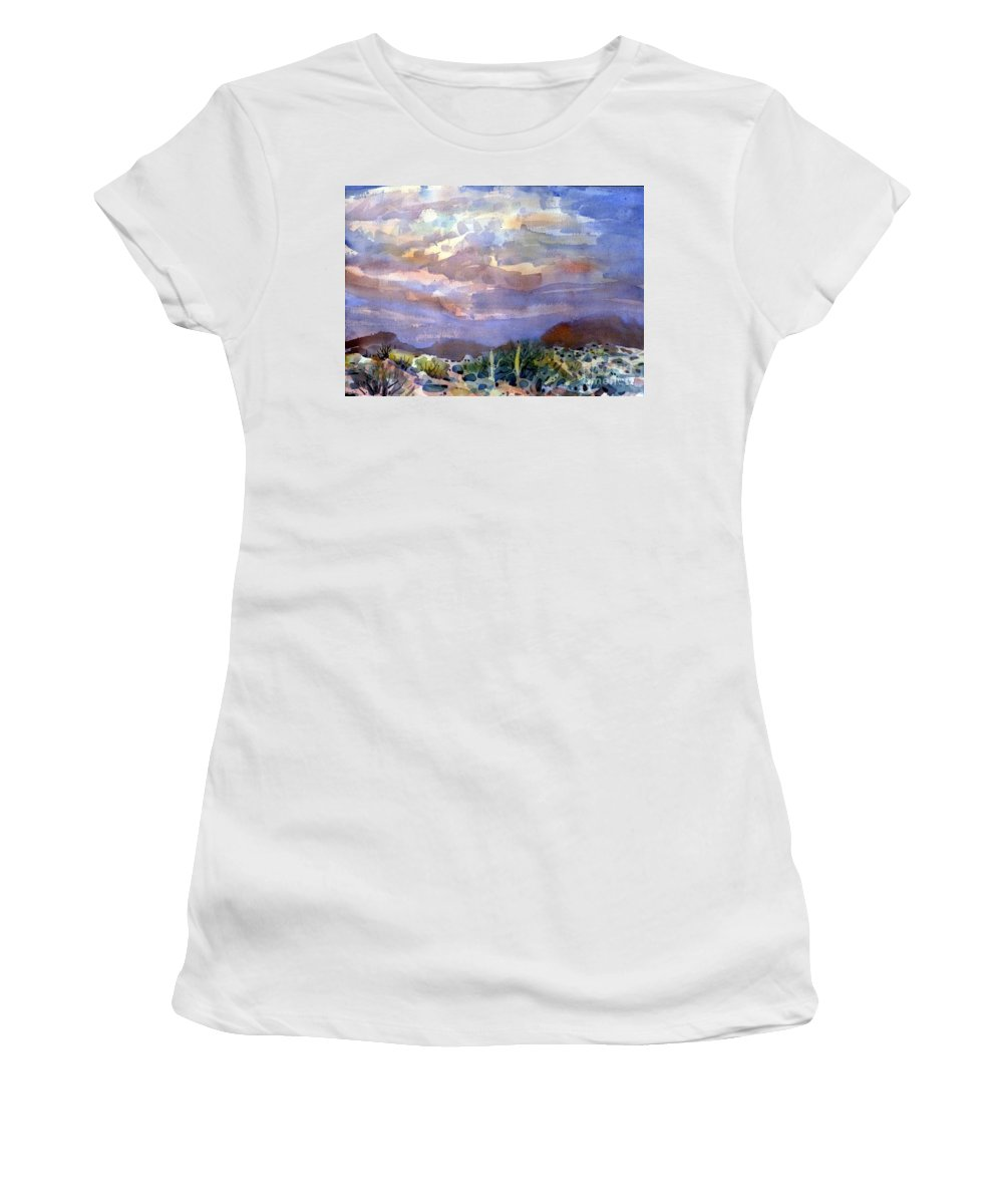 Sunset Women's T-Shirt (Athletic Fit) featuring the painting Electric Sunset by Donald Maier