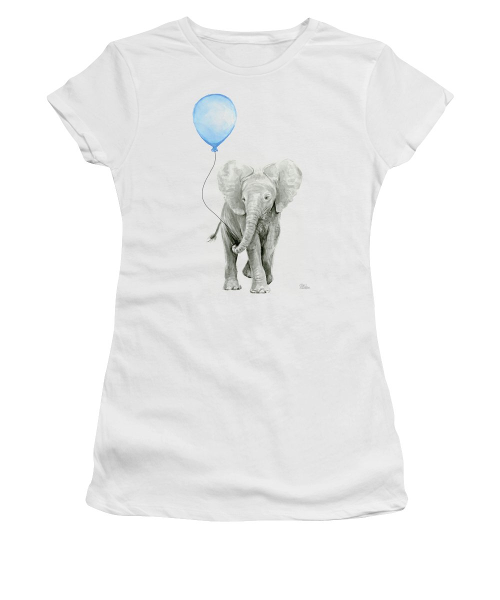 Elephant Women's T-Shirt featuring the painting Elephant Watercolor Blue Nursery Art by Olga Shvartsur