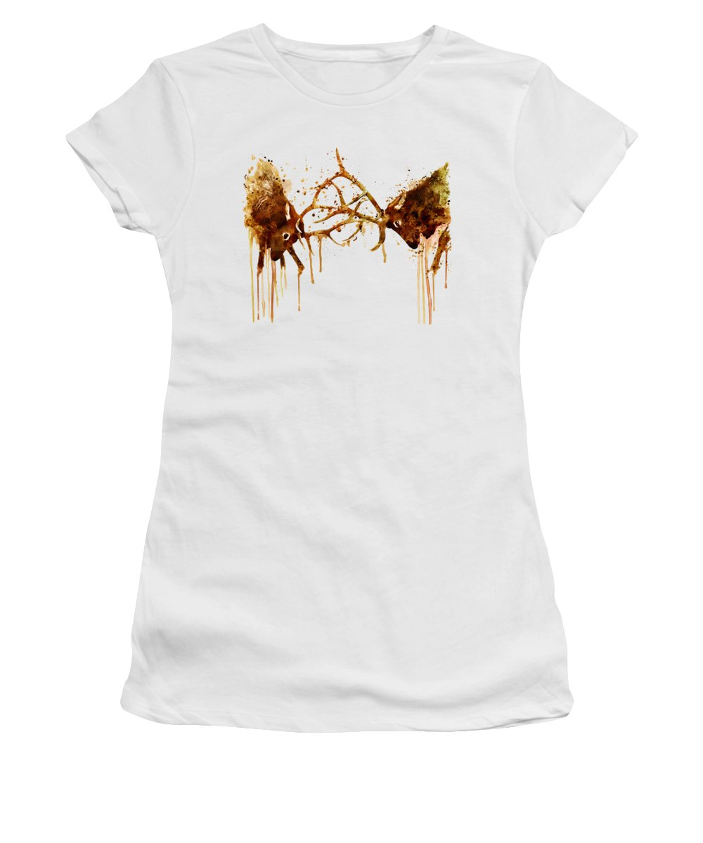 Elk Women's T-Shirt featuring the painting Elks Fight by Marian Voicu