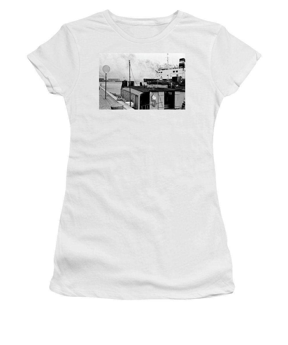 B&w Women's T-Shirt (Athletic Fit) featuring the photograph Elsinore Port Denmark by Lee Santa