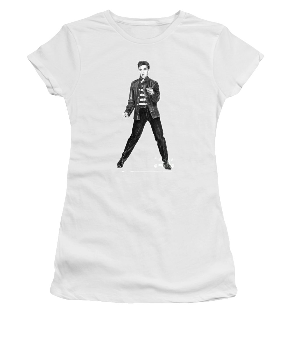 Elvis Women's T-Shirt (Athletic Fit) featuring the drawing Elvis Presley  by Murphy Elliott
