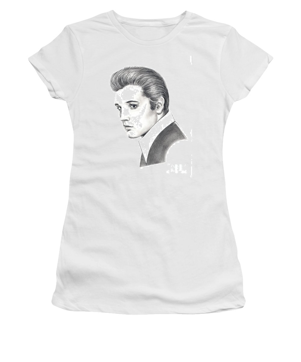 Pencil. Portrait Women's T-Shirt (Athletic Fit) featuring the drawing Elvis Presley by Murphy Elliott