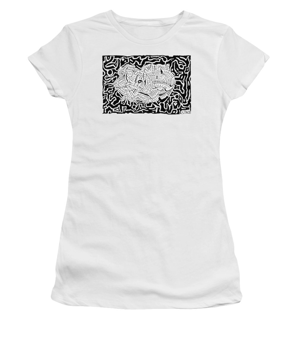 Mazes Women's T-Shirt (Athletic Fit) featuring the drawing Embryonic by Steven Natanson