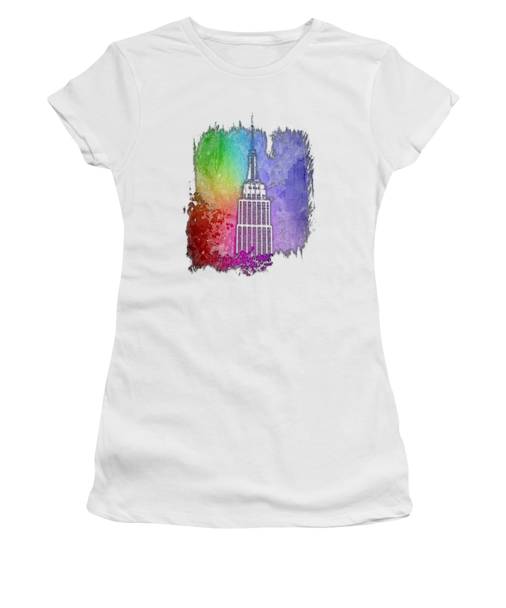 Cool Women's T-Shirt (Athletic Fit) featuring the photograph Empire State Of Mind Cool Rainbow 3 Dimensional by Di Designs