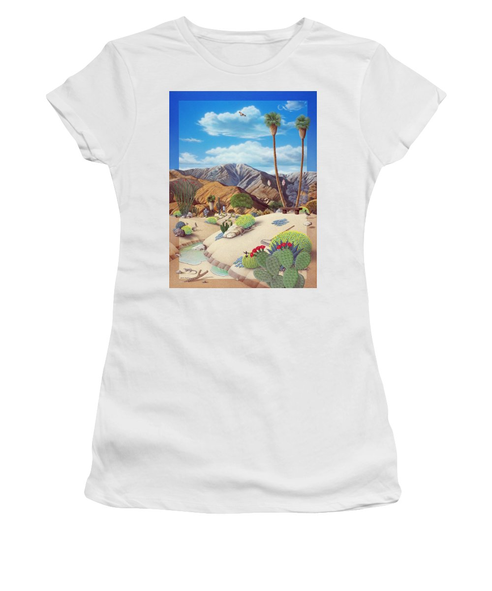 Desert Women's T-Shirt (Athletic Fit) featuring the painting Enchanted Desert by Snake Jagger