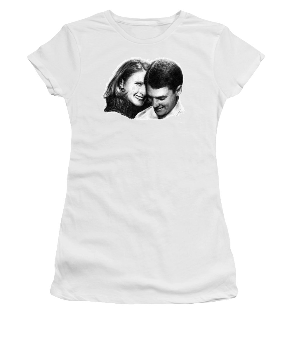 Portrait Women's T-Shirt (Athletic Fit) featuring the drawing Engaged by Rachel Christine Nowicki