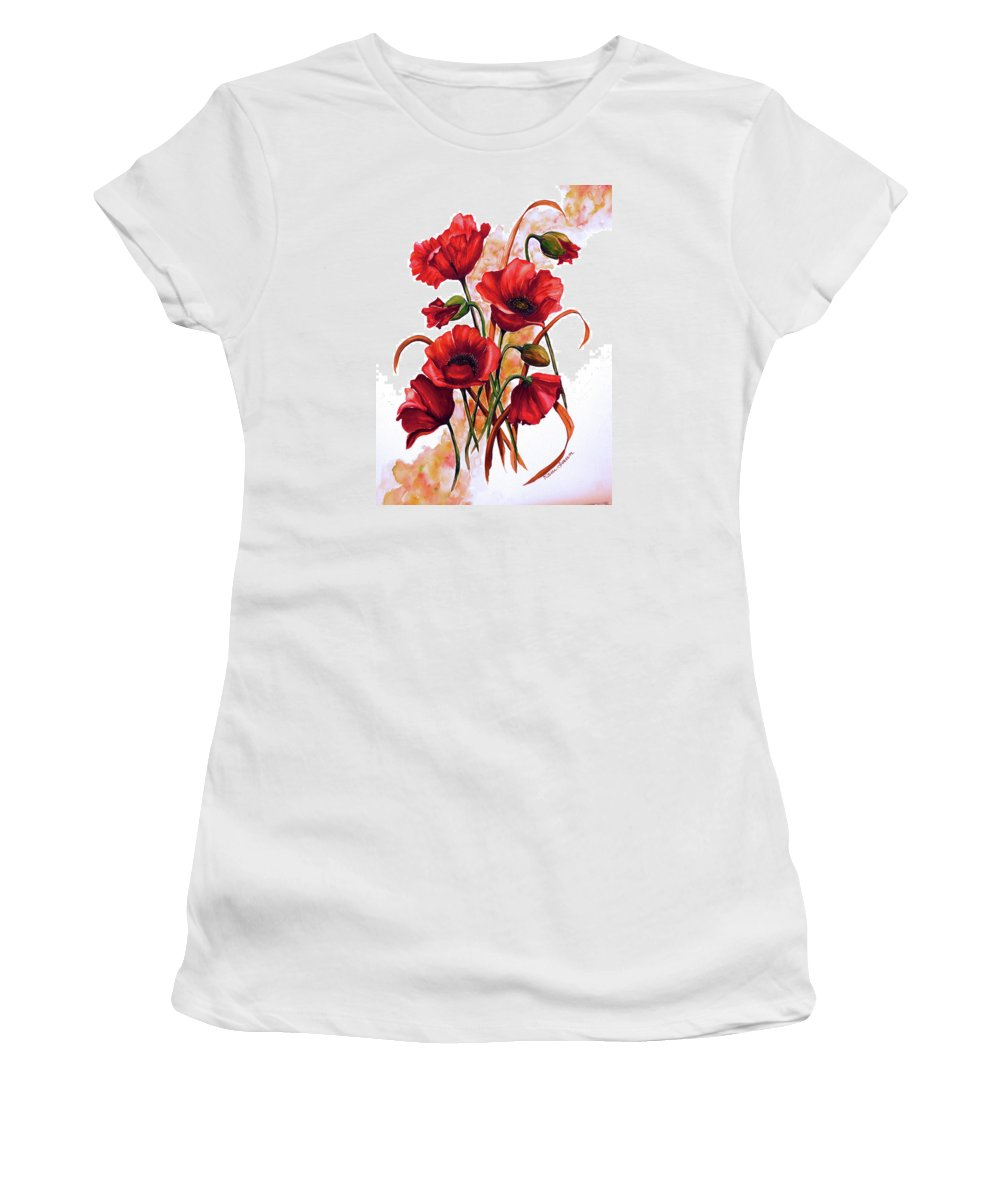 Red Poppies Paintings Floral Paintings Botanical Paintings Flower Paintings Poppy Paintings Field Poppy Painting Greeting Card Paintings Poster Print Painting Canvas Print Painting  Women's T-Shirt featuring the painting English Poppies 2 by Karin Dawn Kelshall- Best