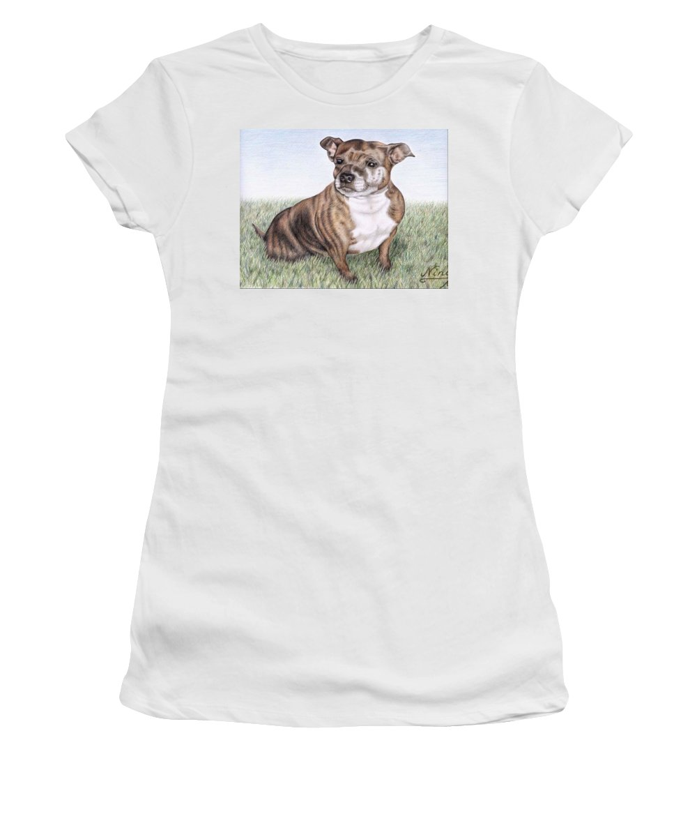Dog Women's T-Shirt (Athletic Fit) featuring the drawing English Staffordshire Terrier by Nicole Zeug