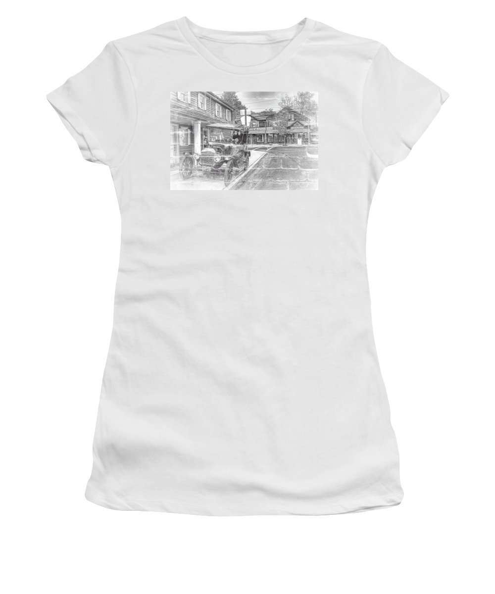 Recent Women's T-Shirt (Athletic Fit) featuring the photograph Englishtown New Jersey Classic Car by Geraldine Scull