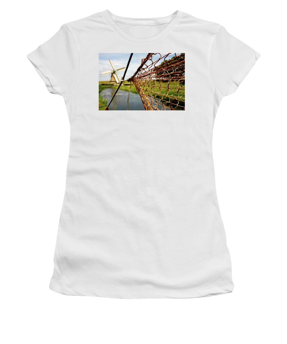 Enkhuizen Women's T-Shirt (Athletic Fit) featuring the photograph Enkhuizen Windmill And Nets by KG Thienemann