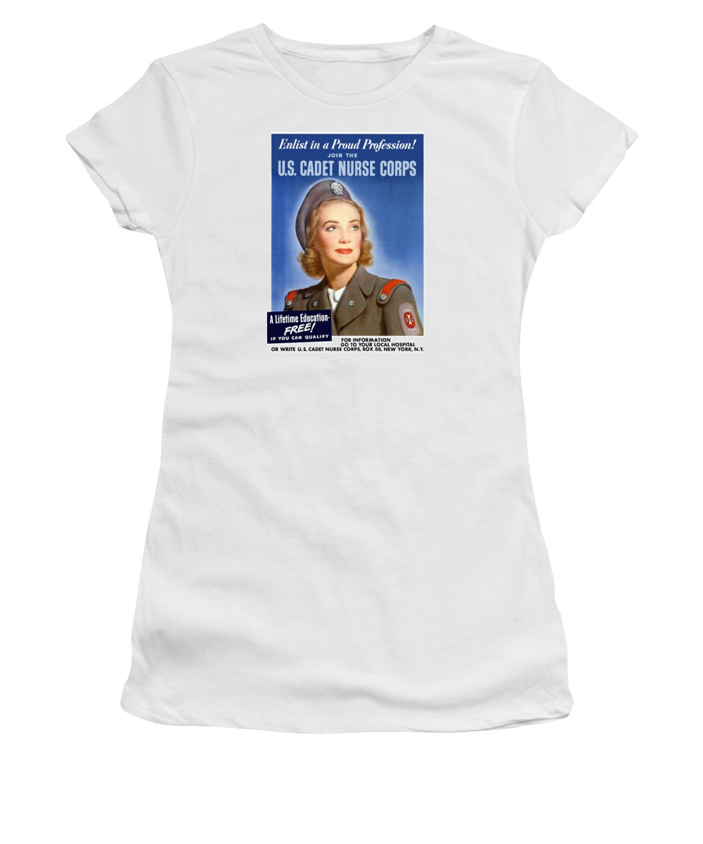 Nursing Women's T-Shirt (Athletic Fit) featuring the painting Enlist In A Proud Profession - Join The Us Cadet Nurse Corps by War Is Hell Store