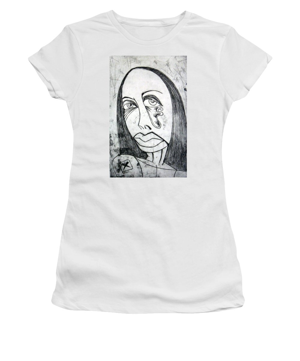 Girl Women's T-Shirt (Athletic Fit) featuring the print Etching by Thomas Valentine