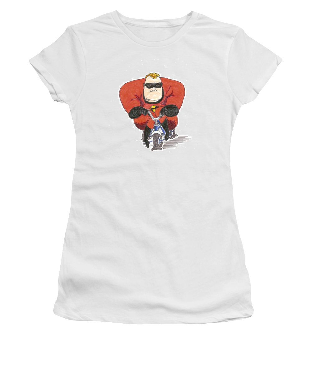 Mr. Incredible Women's T-Shirt (Athletic Fit) featuring the drawing Even Super Heroes Have Bad Days by Vonda Lawson-Rosa