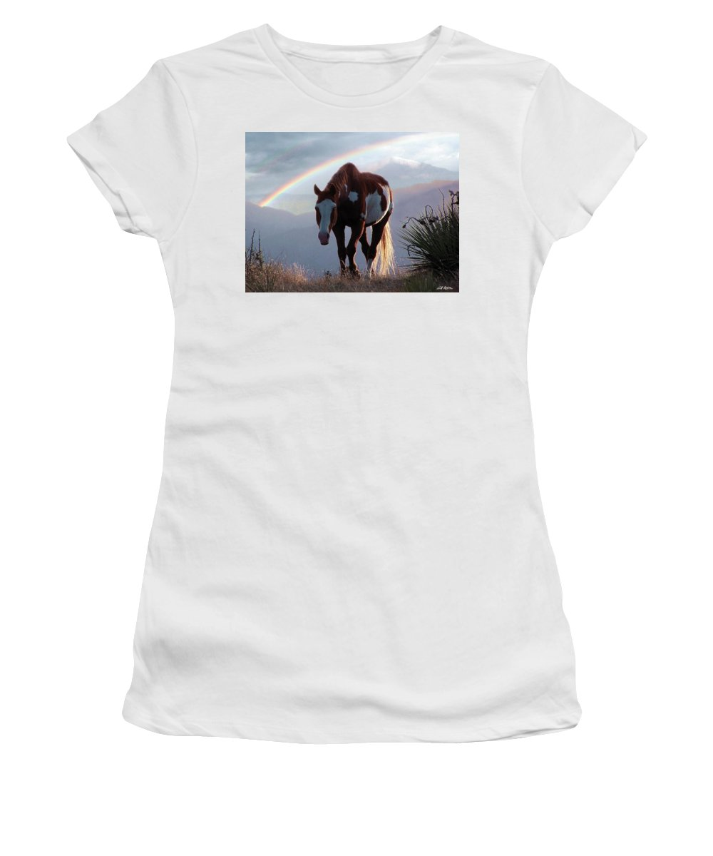 Horses Women's T-Shirt (Athletic Fit) featuring the mixed media Evening Promise by Bill Stephens