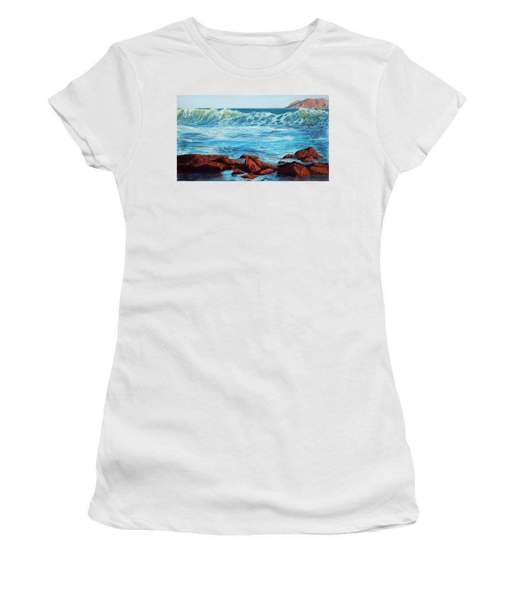 Ocean Women's T-Shirt (Athletic Fit) featuring the painting Evening Waves by Mary Benke