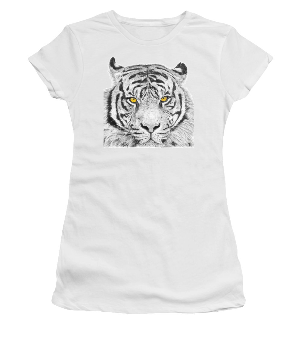 Tiger Women's T-Shirt (Athletic Fit) featuring the drawing Eyes Of The Tiger by Shawn Stallings