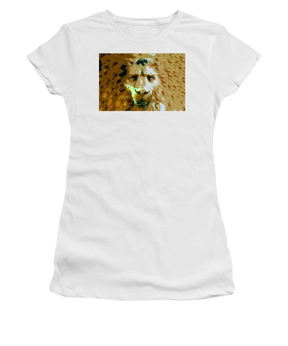 Lion Women's T-Shirt (Athletic Fit) featuring the painting Face Of The Lion by David Lee Thompson
