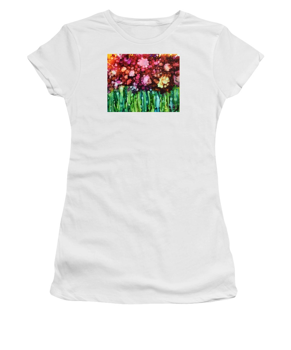 Abstract Flower Women's T-Shirt featuring the painting Fading Blooms by Beth Kluth