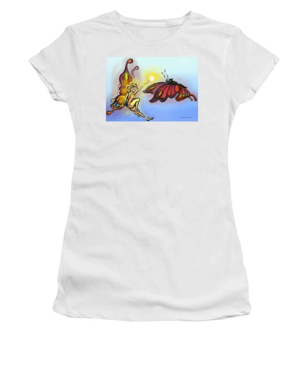 Faerie Women's T-Shirt (Athletic Fit) featuring the painting Faerie N Butterfly by Kevin Middleton