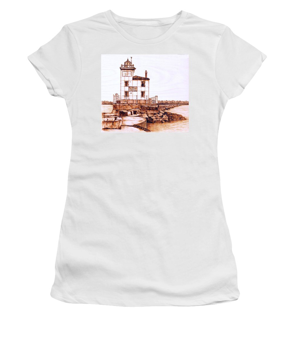 Lighthouse Women's T-Shirt (Athletic Fit) featuring the pyrography Fair Port Harbor by Danette Smith