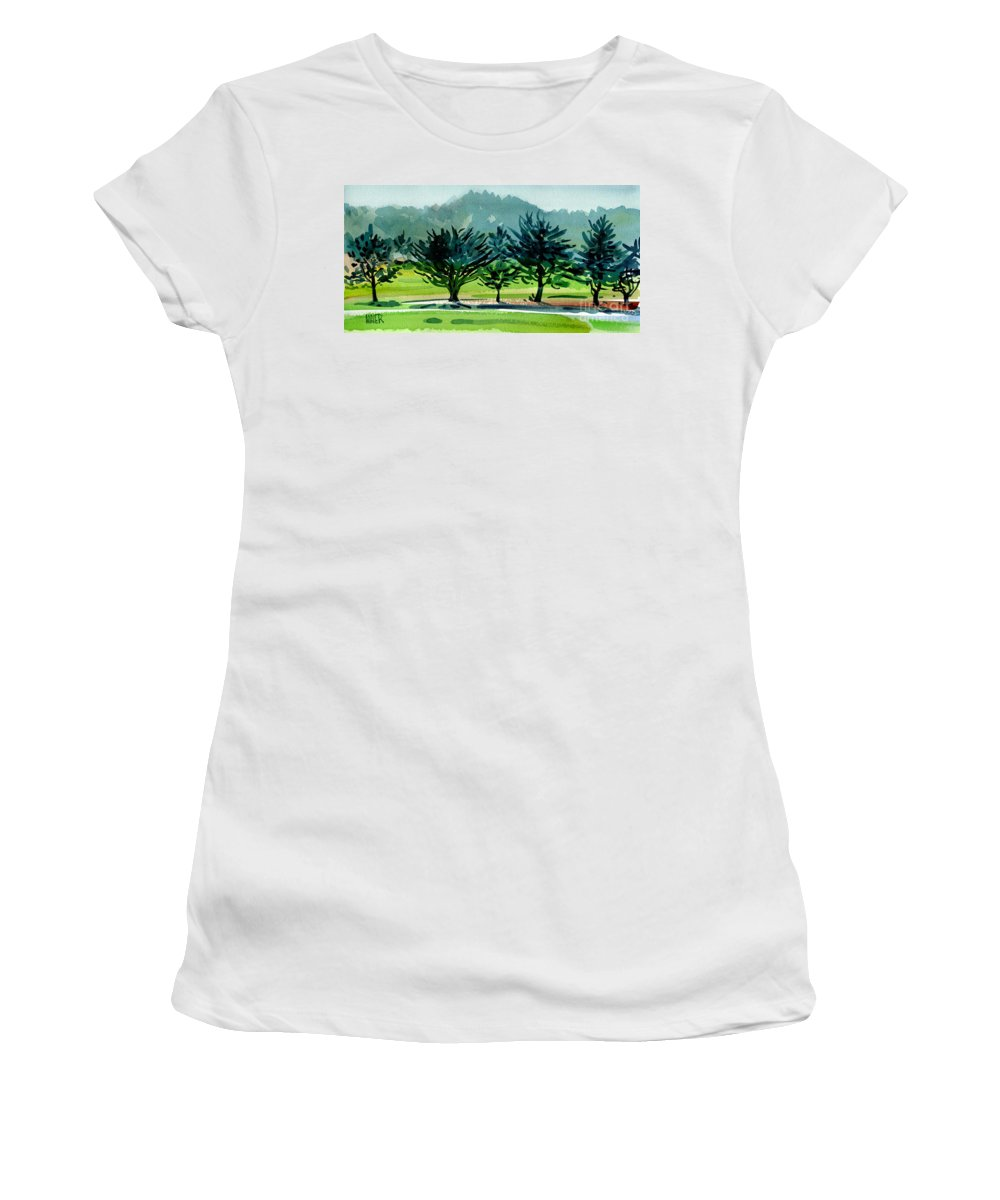 Crystal Springs Women's T-Shirt (Athletic Fit) featuring the painting Fairway Junipers by Donald Maier