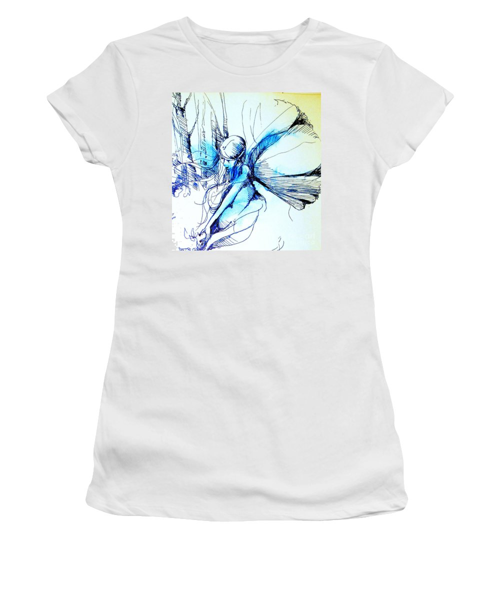 Fairy Women's T-Shirt (Athletic Fit) featuring the drawing Fairy Doodles by Linda Shackelford