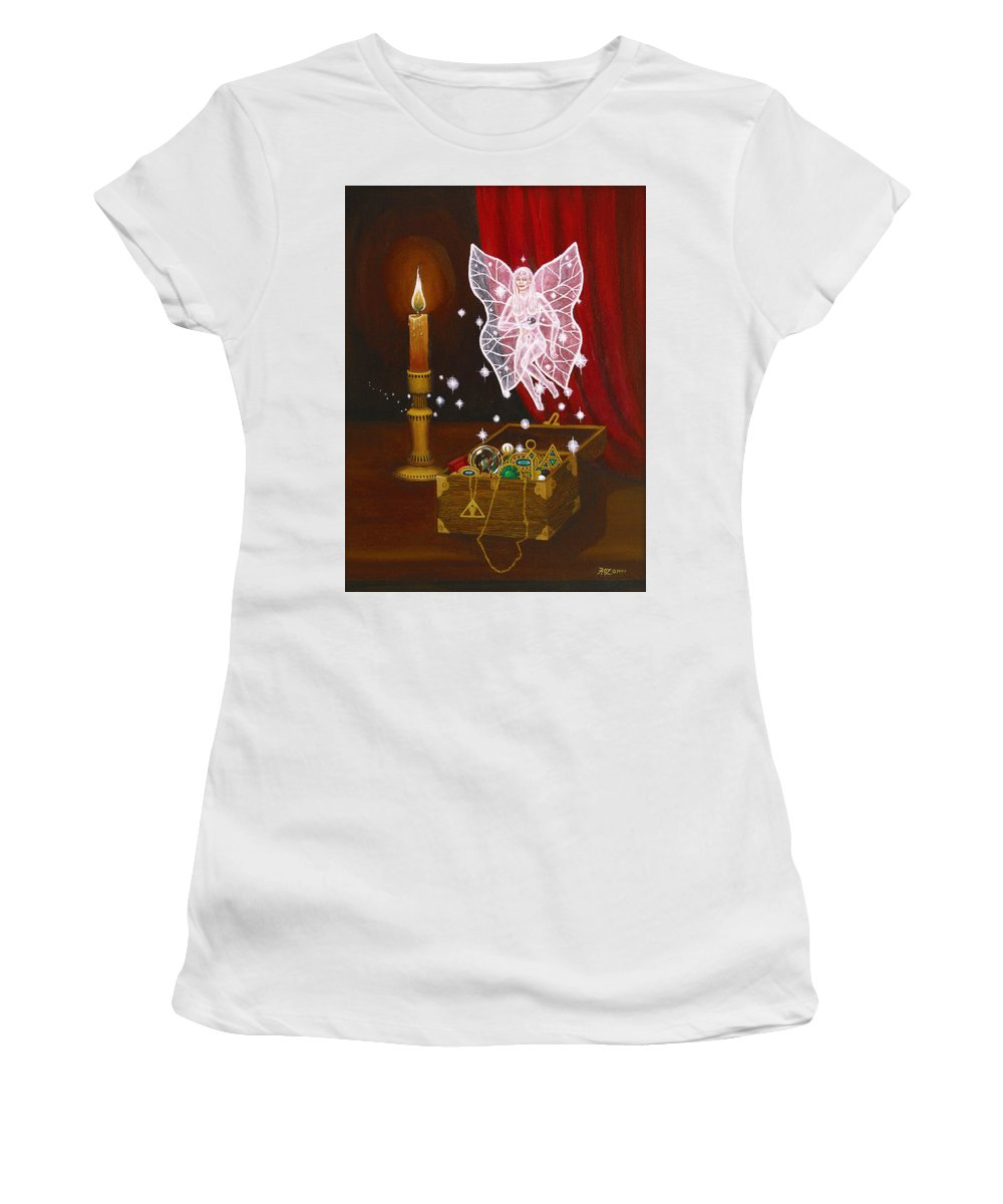 Fairy Women's T-Shirt (Junior Cut) featuring the painting Fairy Treasure by Roz Eve
