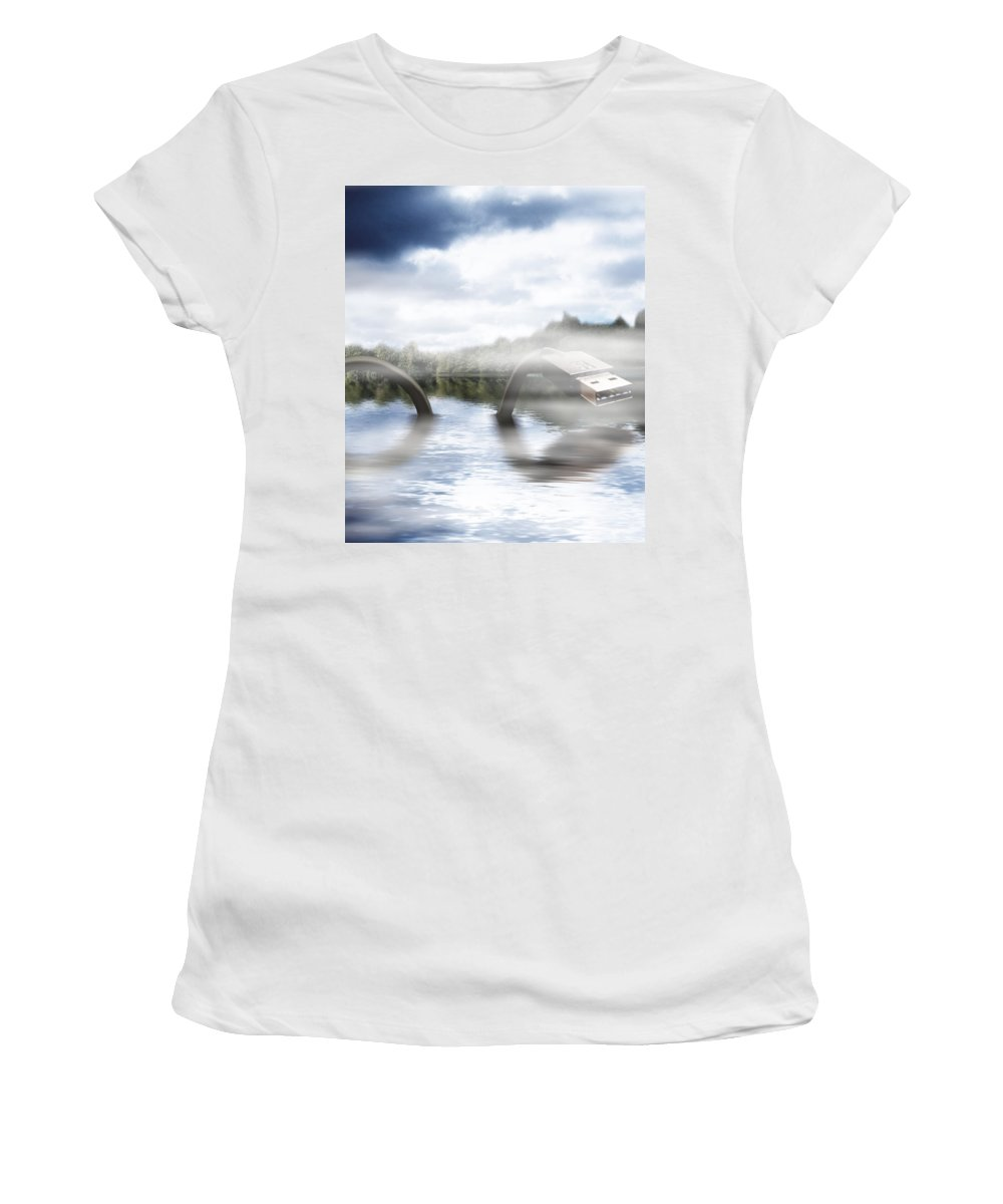 Nessie Women's T-Shirt (Athletic Fit) featuring the mixed media Fake Ness by Gravityx9  Designs