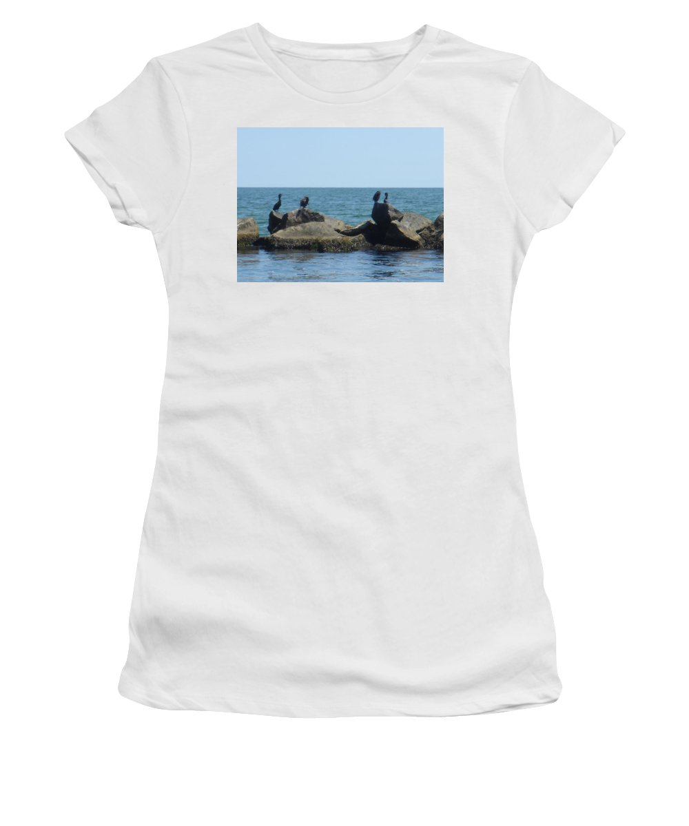 Birds Women's T-Shirt (Athletic Fit) featuring the photograph Falmouth by Donna Walsh