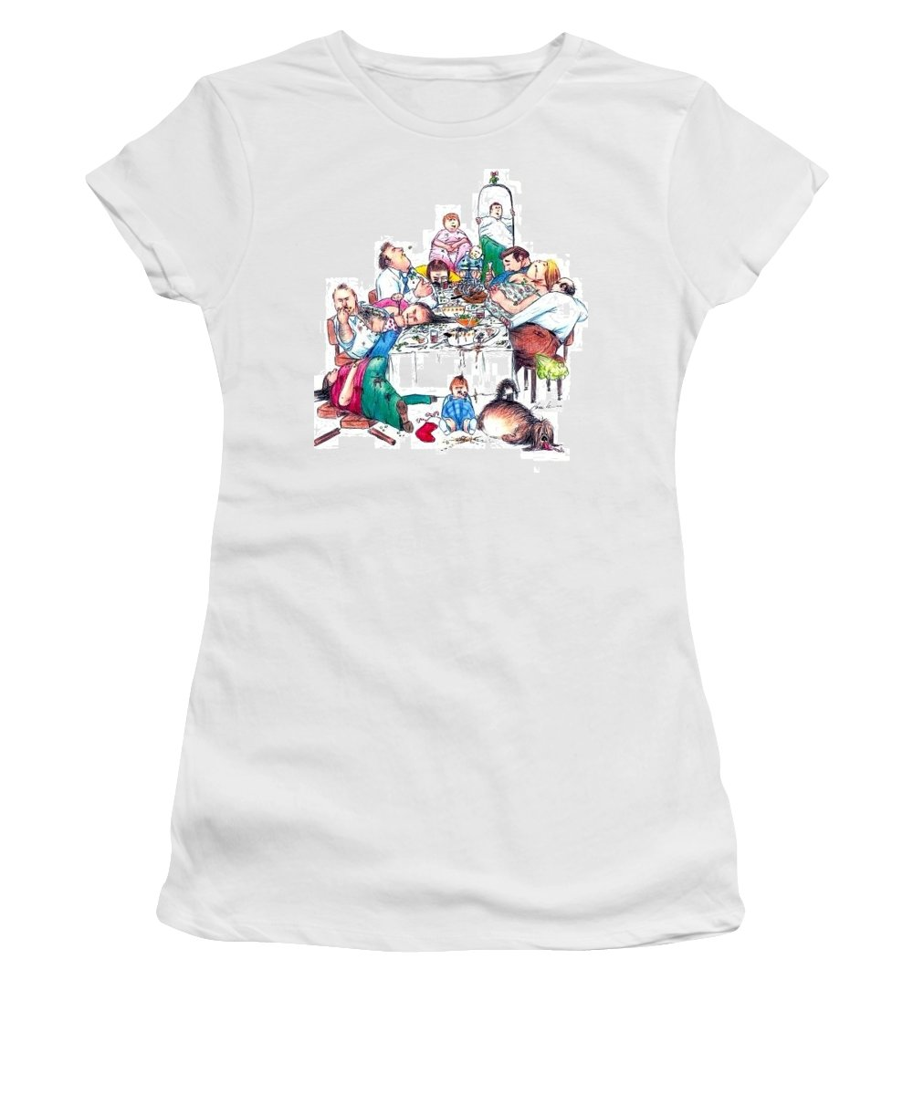 Humor Get Even Women's T-Shirt (Athletic Fit) featuring the drawing Family Dinner by Bruce Lennon