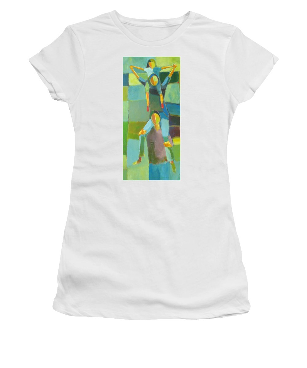 Abstract Women's T-Shirt (Athletic Fit) featuring the painting Family Joy by Habib Ayat