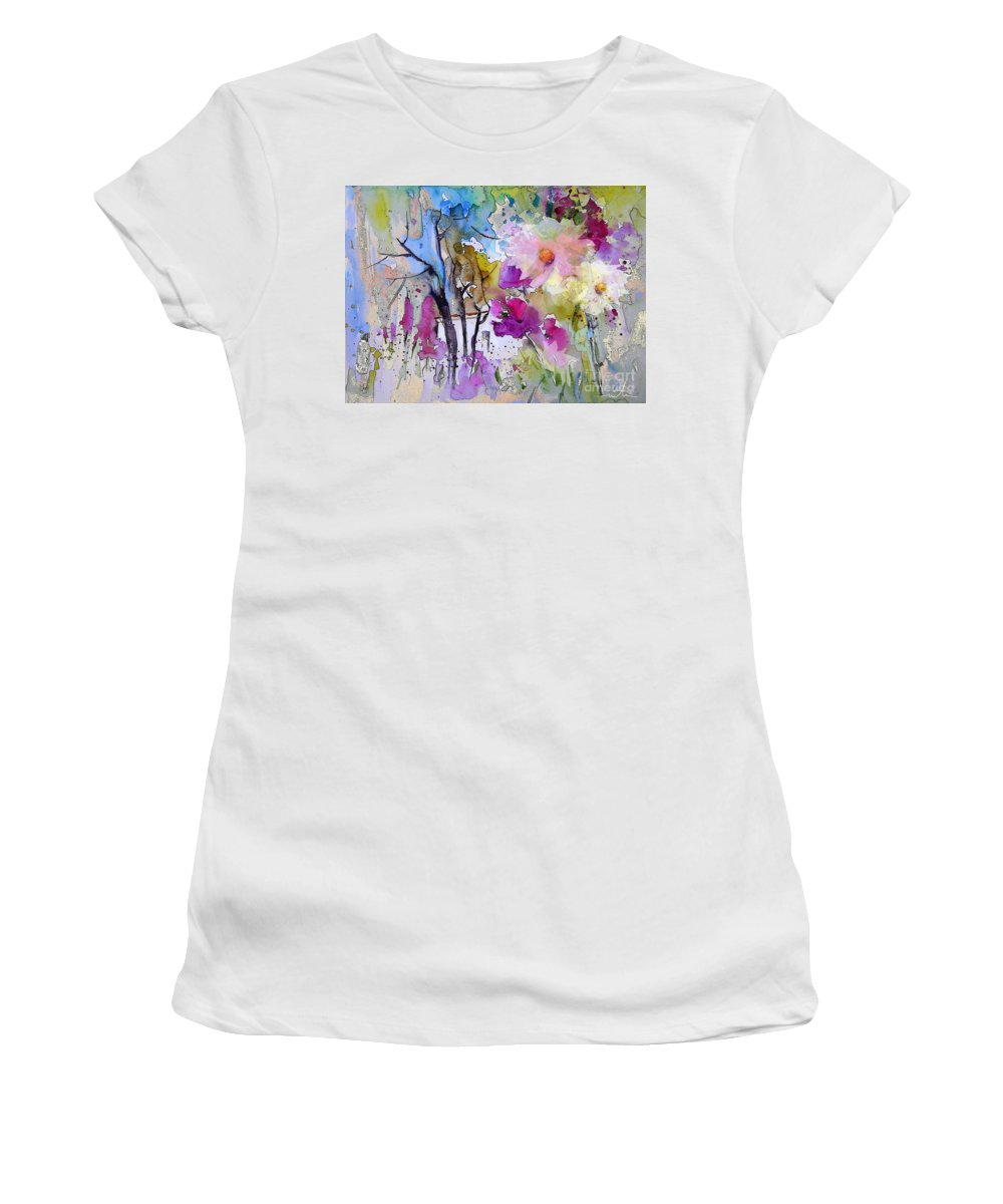 Flowers Women's T-Shirt (Athletic Fit) featuring the painting Fantaquarelle 02 by Miki De Goodaboom