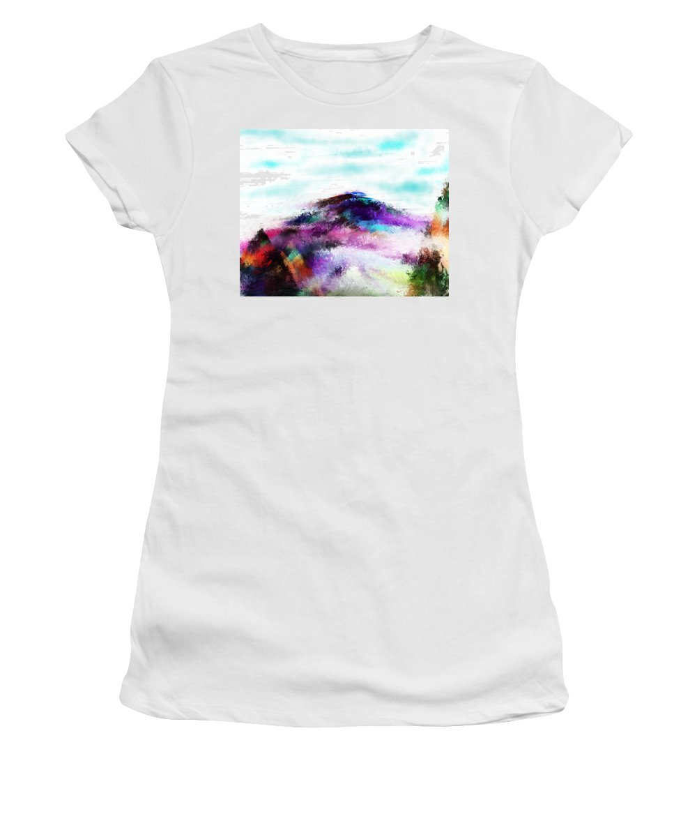 Digital Painting Women's T-Shirt (Athletic Fit) featuring the digital art Fantasy Mountain by David Lane