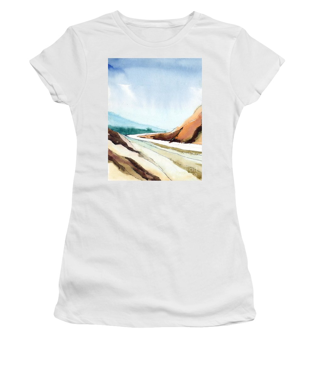 Landscape Women's T-Shirt (Athletic Fit) featuring the painting Far Away by Anil Nene