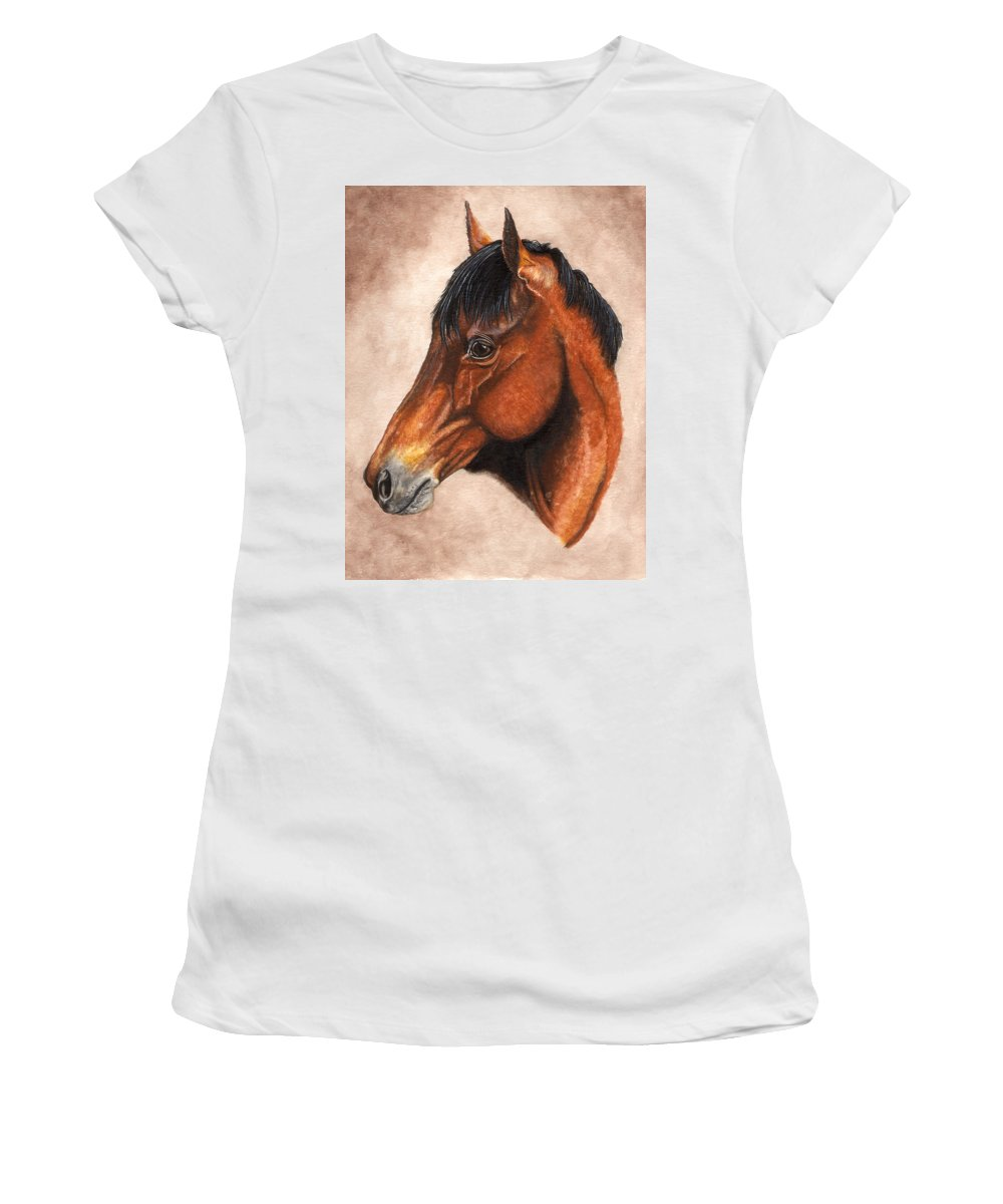Horse Women's T-Shirt (Athletic Fit) featuring the painting Farley by Kristen Wesch