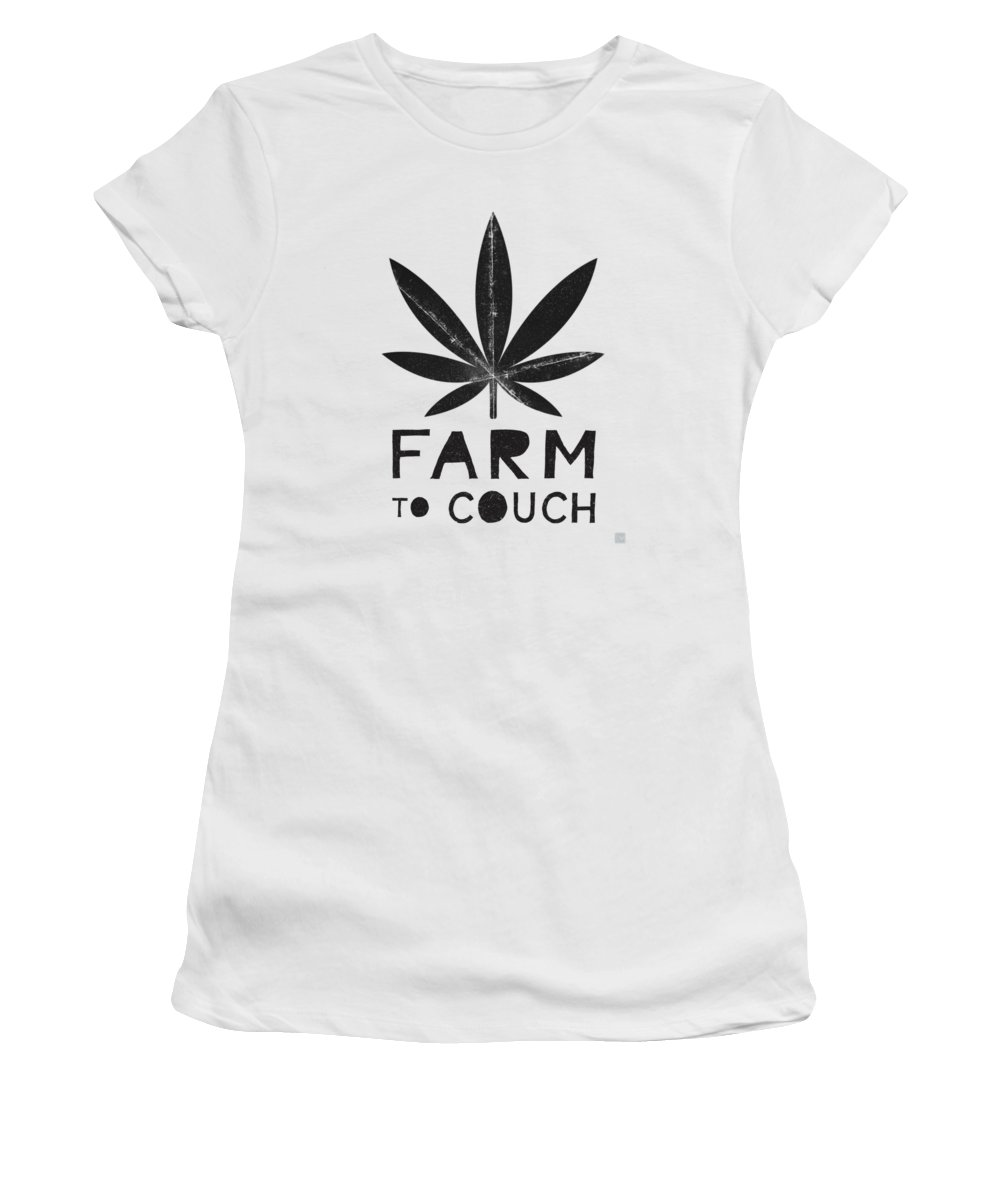 Farm To Couch Black And White Cannabis Art By Linda Woods Women S T Shirt For Sale By Linda Woods