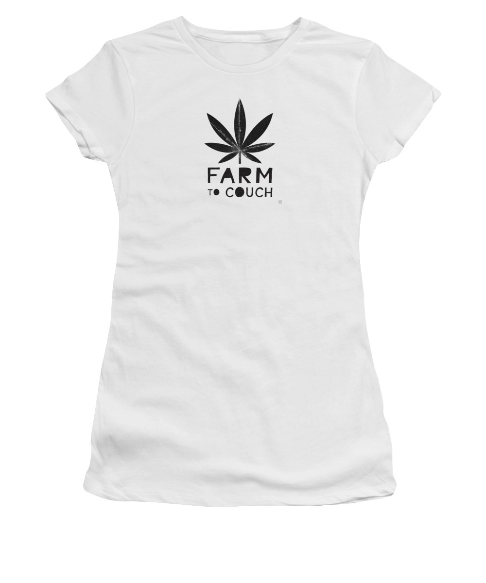 Cannabis Women's T-Shirt featuring the mixed media Farm To Couch Black And White- Cannabis Art by Linda Woods by Linda Woods
