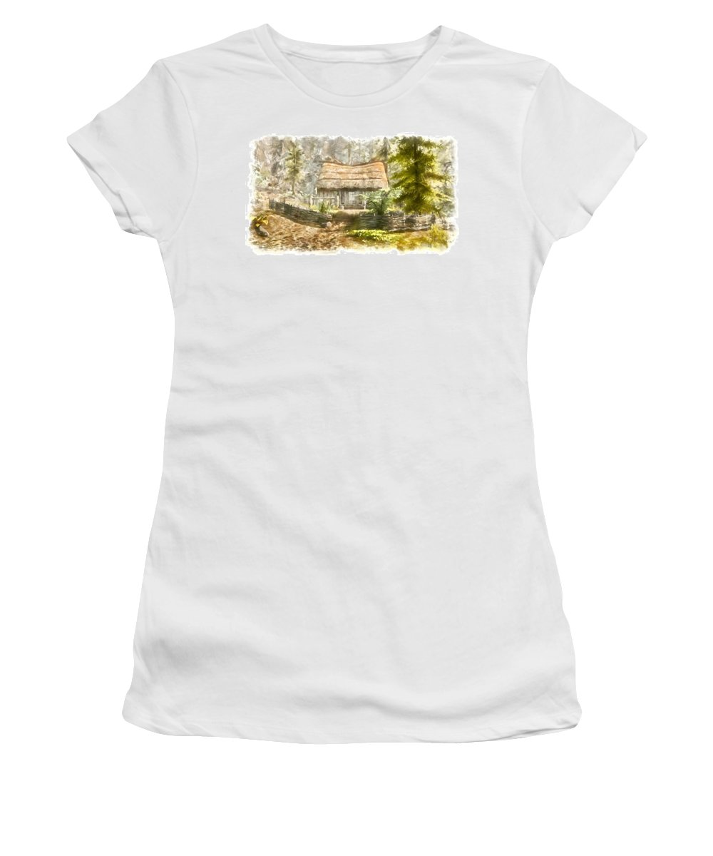 House Women's T-Shirt (Athletic Fit) featuring the digital art Farmer House by Marjan Mencin