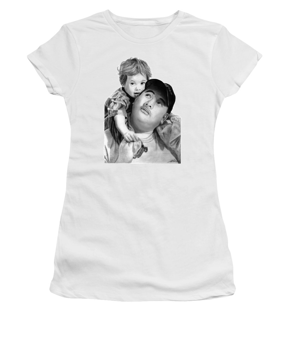 Father And Son Women's T-Shirt (Athletic Fit) featuring the drawing Father And Son by Peter Piatt