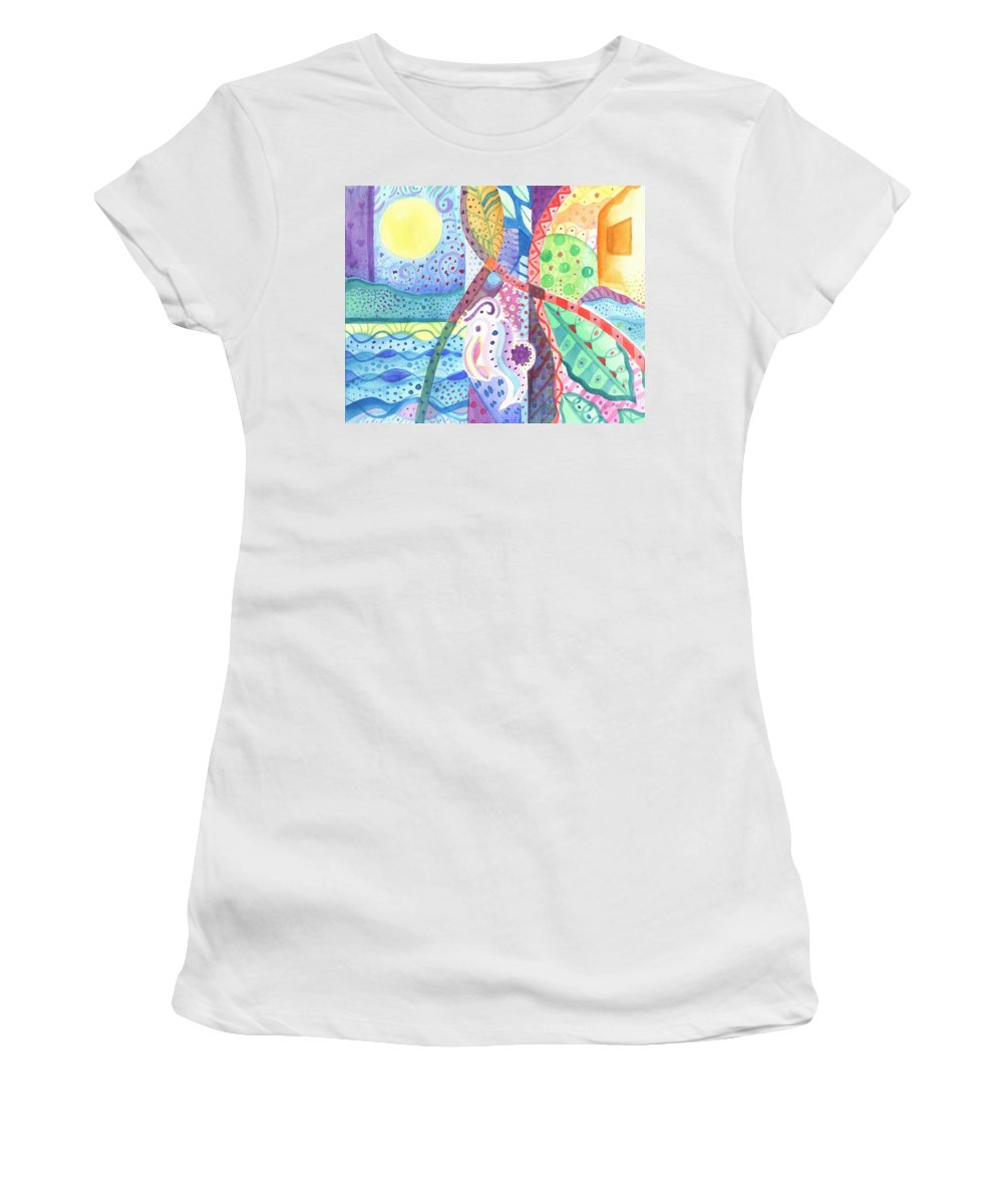 Nature Women's T-Shirt (Athletic Fit) featuring the painting Favorite Things by Helena Tiainen